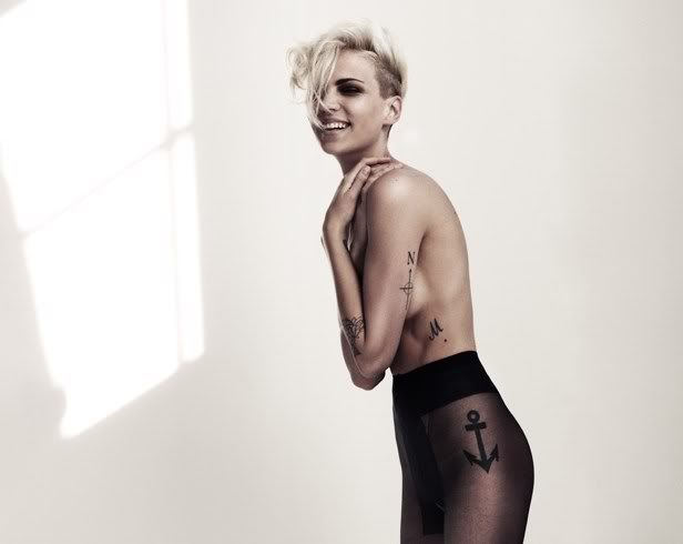 fashion, tattoo, anchor, m letter, short blonde hair
