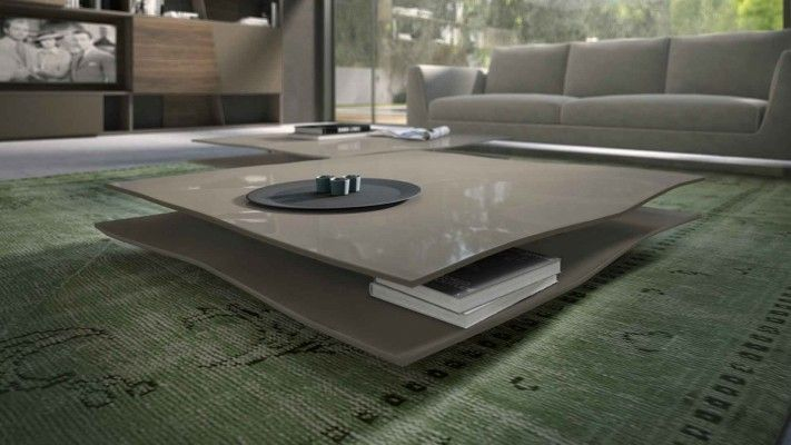 Tavolino Foglio quadrato basso laccato lucido beige cappuccino By Presotto