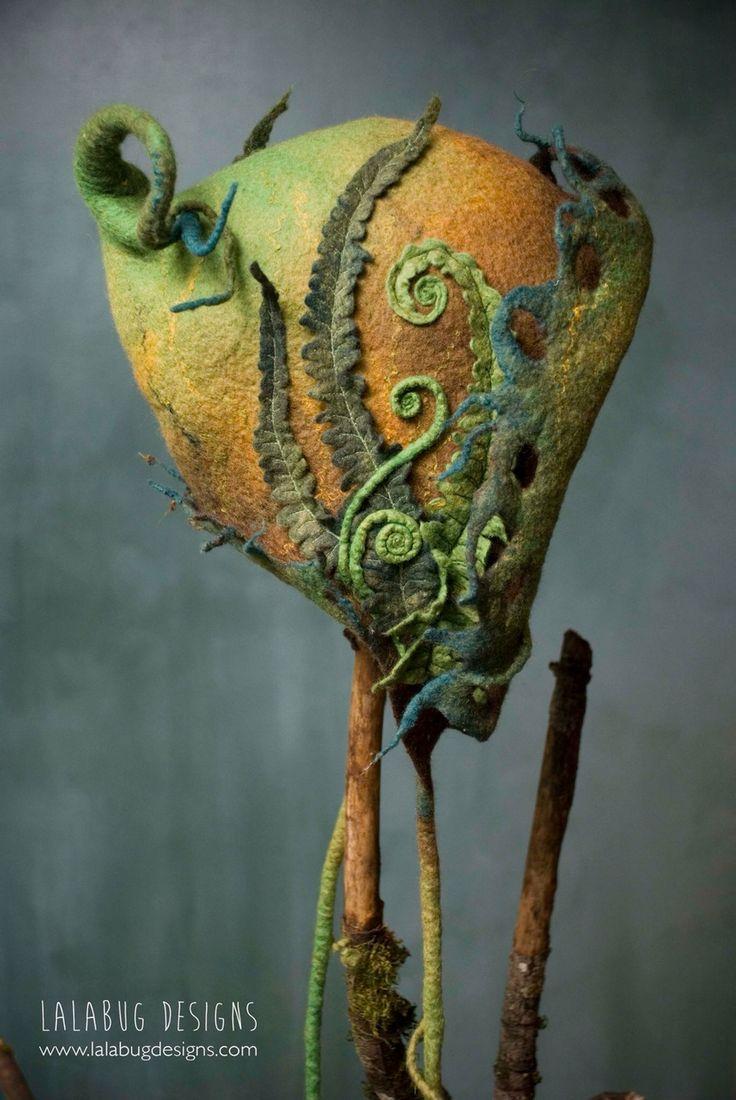 Ferns & fiddleheads - a hand sculpted merino wool hood by lalabug designs