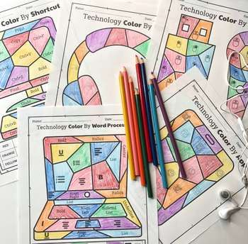 Technology Color By Code Worksheets Bundle