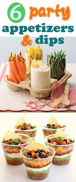 6 party appetizers and dips.  Quick and easy delicious appetizers everyone will love.