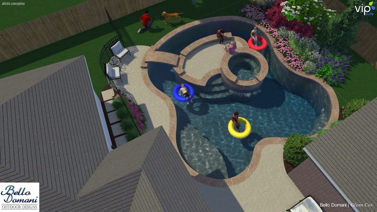 Lazy river in a small yard. Spa on the island. Instead of spa a waterfall with slide