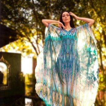 Kaftan by @Colin Young Heaney - Renaissance #kaftan #georgette #print #silk #digital #satin #resort #luxury #cruise