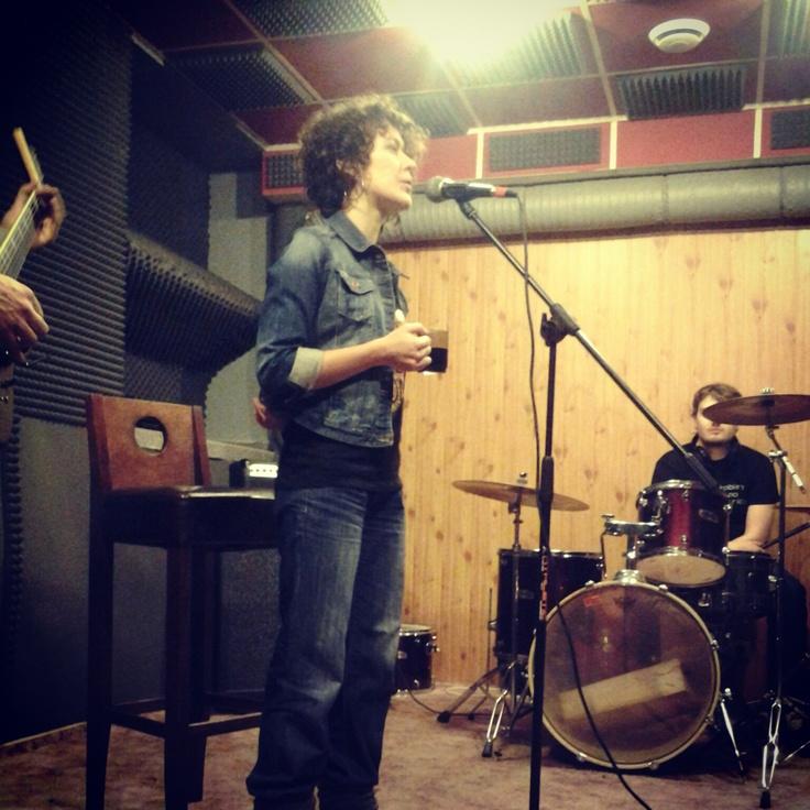 At the mic