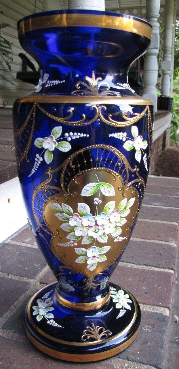 160 best cobalt glass images on pinterest glass art cobalt blue massive 14 gilt hand enameled bohemian cobalt blue vase reviewsmspy