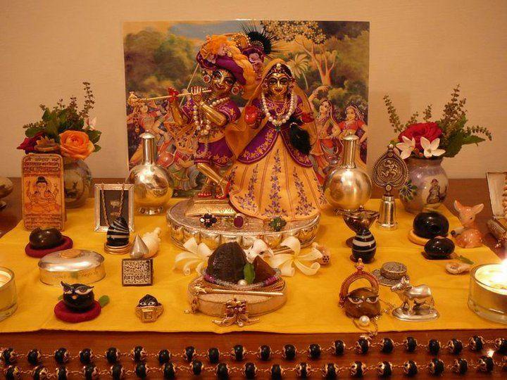home altar with shilas