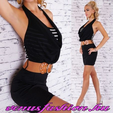 Elegáns fekete női kámzsás mini ruha övvel üzletasszony ruha