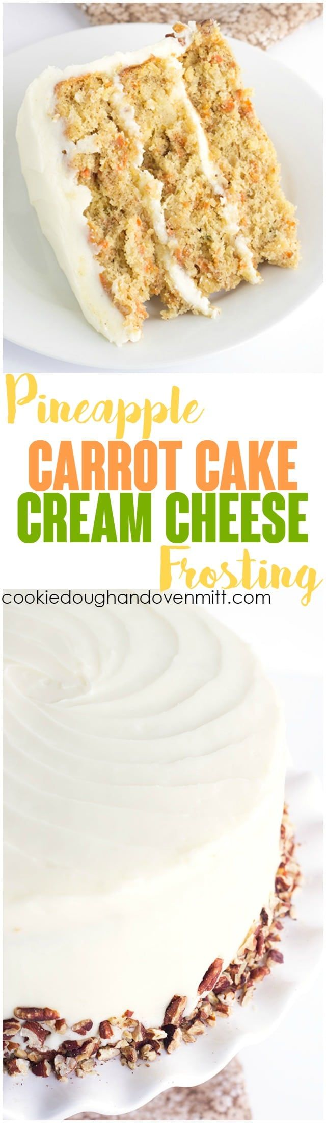 Pineapple Carrot Cake with Cream Cheese Frosting - the perfect Easter cake! It's full of crushed pineapple, shredded carrots, and cinnamon. It's slathered with a cream cheese frosting infused with pineapple juice and garnished with toasted pecans. via @mmmirnanda