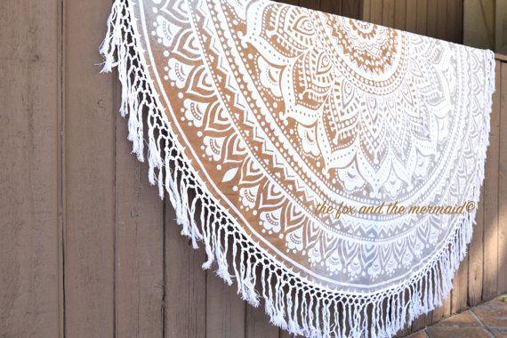 Grey/brown ombre round beach blanket, picnic blanket, yoga mat, roundie mandala, mandala tapestry, hippie blanket, boho decor