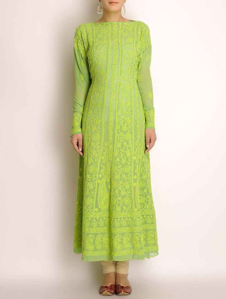 Buy Lime Green Georgette Chikankari Embroidered Kurta Fabric Online at Jaypore.com