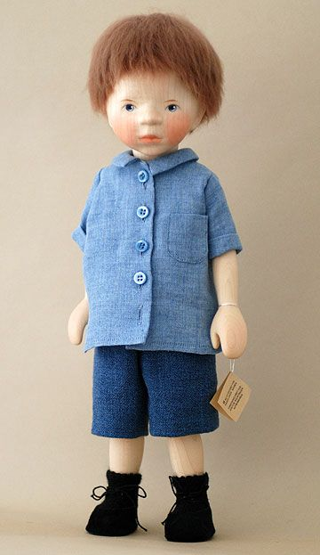 Boy in Chambray Shirt H321 by Elisabeth Pongratz at The Toy Shoppe  wood 14 inches