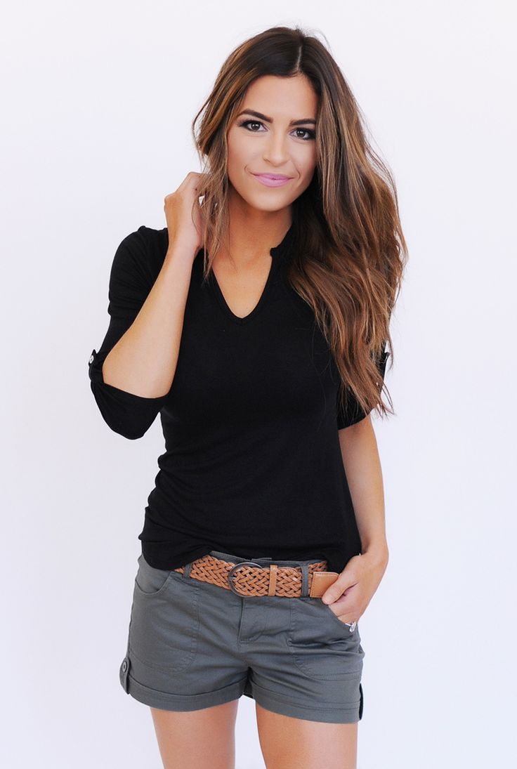 V Neck Cuffed Sleeve Top- Black - Dottie Couture Boutique