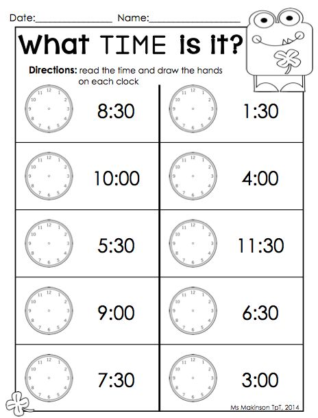 March Printable Packet - Kindergarten Literacy and Math. Time Worksheet. Perfect for St. Patrick's Day! (Ms. Makinson)