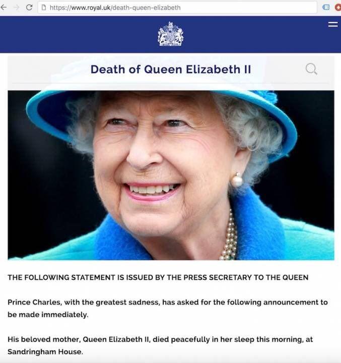 Скончалась Королева Англии ЕЛИЗАВЕТА II