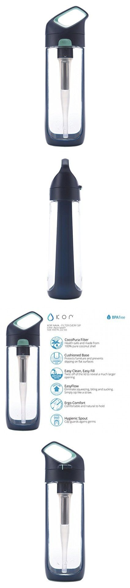 KOR Nava BPA Free 700ml Filter Water Bottle, (Aqua Splash)