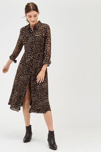 fa02b242d096 Leopard print midi shirt dress in 2019 | Fall - Winter 2018-2019 ...