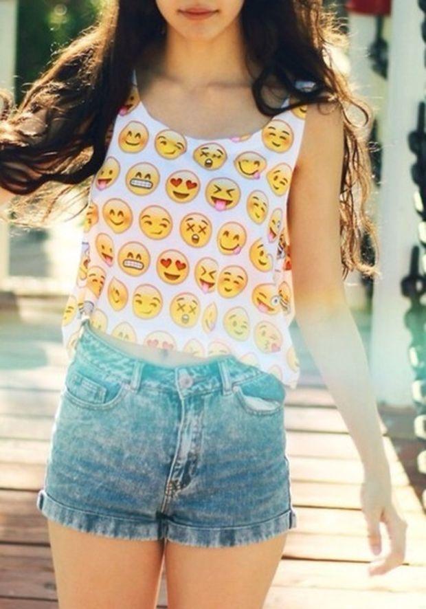 White Emoji Print Crop Vest