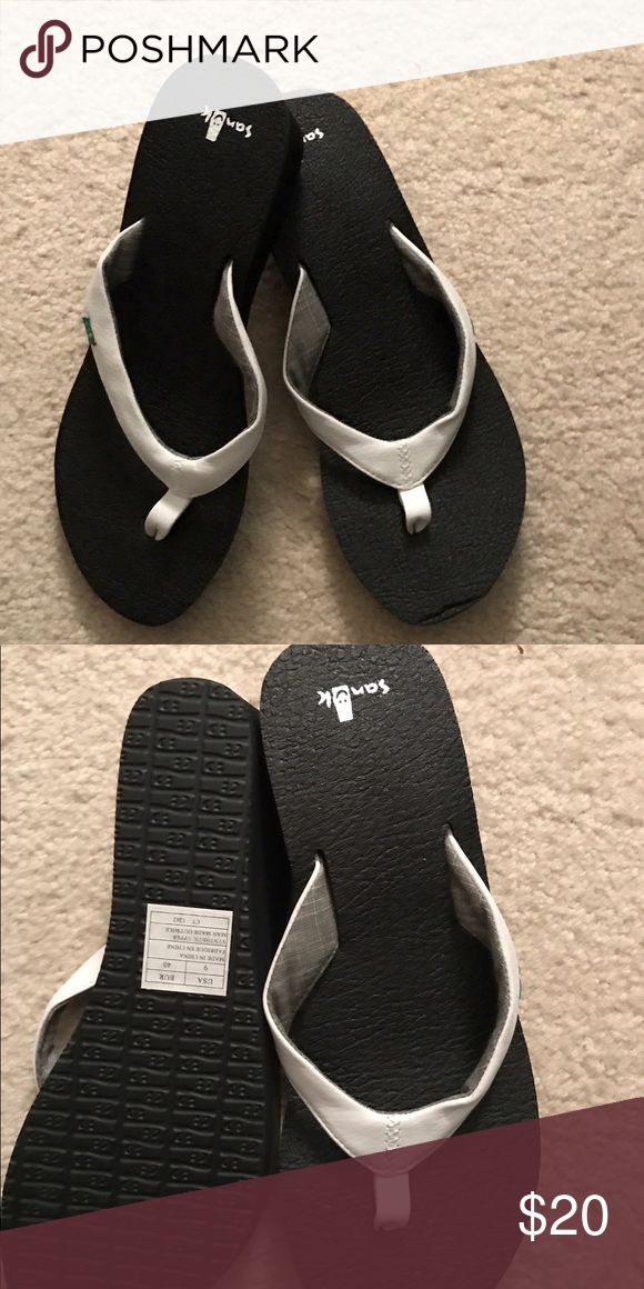 "NWOT Sanuk Wedge Flip Flops Brand New white wedge flip flops. Yoga mat material, with lightly padded straps make them comfortable for everyday. 2"" height Sanuk Shoes Sandals"
