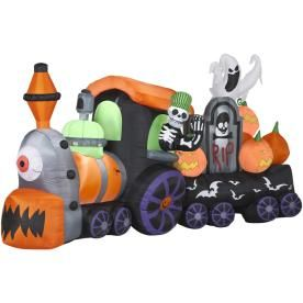 gemmy 6 18 ft animatronic inflatable halloween skeleton train - Lowes Halloween Inflatables