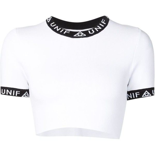 Unif 'Bad sport' crop T-shirt ($130) ❤ liked on Polyvore featuring tops, t-shirts, crop tops, white, sports tees, crop tee, white crop t shirt, white t shirt and crop t shirt
