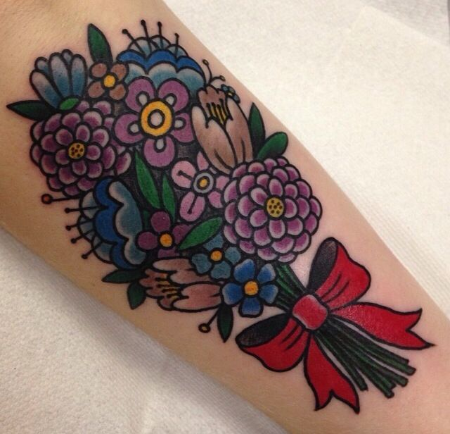 Classic & Colorful Bouquet Tattoos!