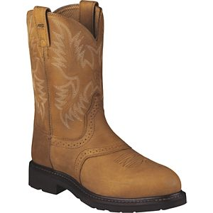 Ariat Sierra Saddle Steel Toe Pull On Work Boots for Men - Aged Bark - 10.5 W