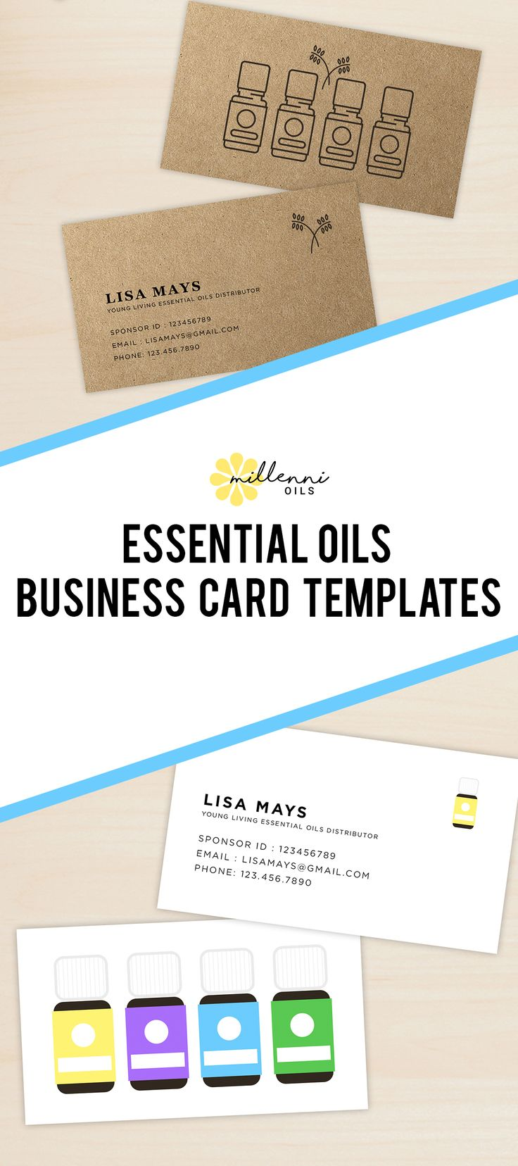 Essential Oil Business Cards, Young Living Essential Oils, Business Resources, Business Card Template
