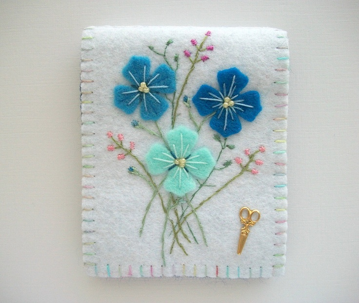 White Needle Book with Blue Flowers Hand Embroidered. $25.00, via Etsy.