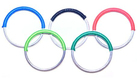 bangles in the Olympic spirit, made from bomb shards