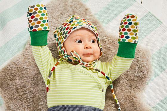 Babymütze mit Punkten nähen einfache Annleitung