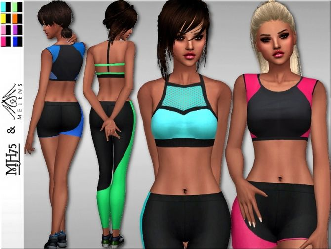 S4 Neon Sports Tops Set at Sims Addictions • Sims 4 Updates