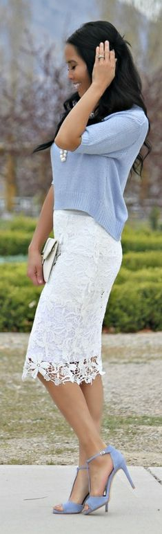 Light Blue And White Outfit Idea