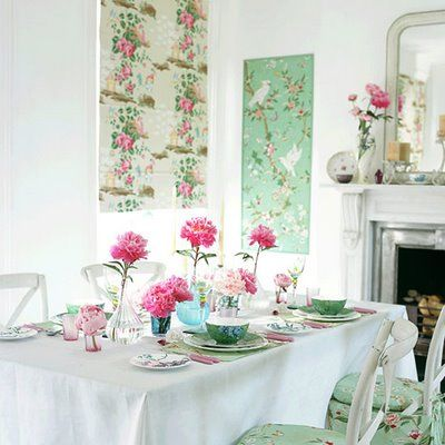 Shabby Chic: Dining Rooms, Tables Sets, Mint Green, Shabby Chic, Spring Decor, Dinners Tables, Rooms Ideas, Shower Curtains, Pastel Color