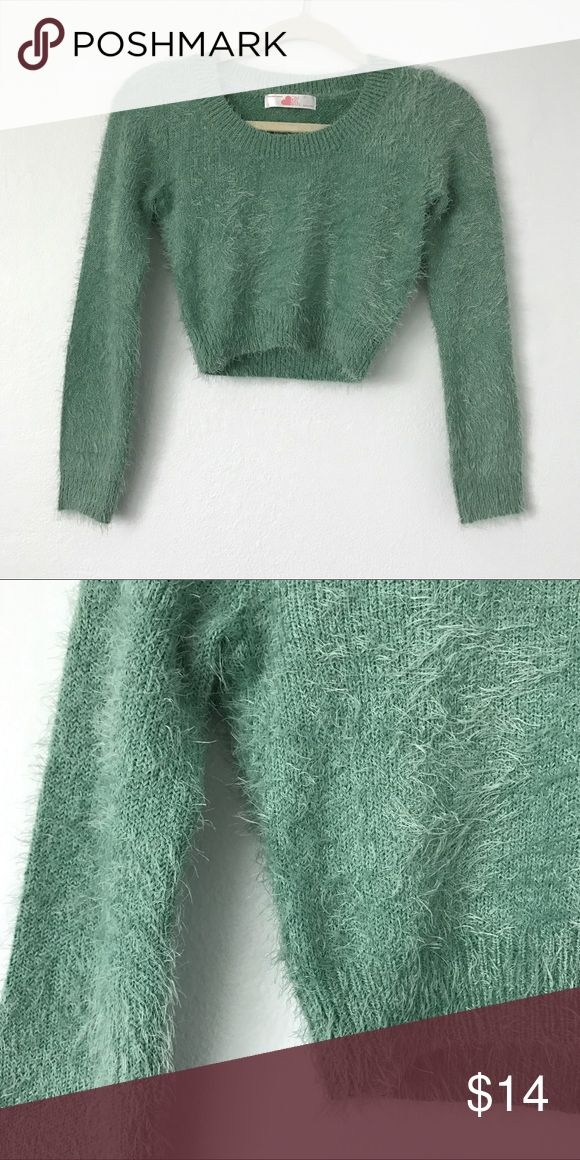 🐬 Aqua Crop Sweater 🐬 NWOT Cropped fuzzy sweater from American Apparel. Style with high rise jeans and boots for cool, casual summer nights. American Apparel Sweaters