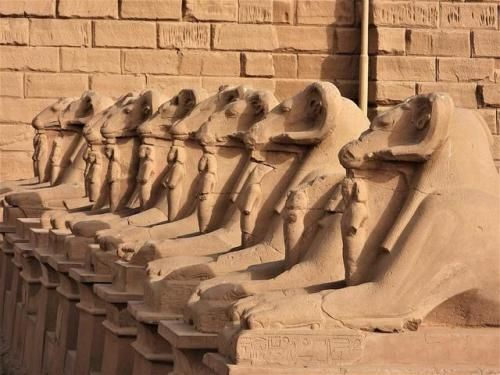 The Grand Avenue of Rams Courtyard with ram-headed…