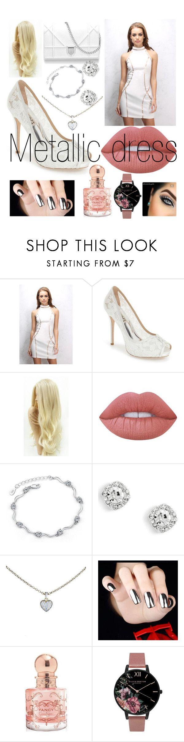 """Metallic dress"" by maryamsaeed1 ❤ liked on Polyvore featuring Rare London, Badgley Mischka, Lime Crime, Cartier, Jessica Simpson and Olivia Burton"