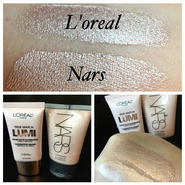 """Liquid and cream highlighters are my favorite because theyre so versatile. You can add a drop to your foundation or just apply it alone with a beauty blender to your cheekbones and other highlight areas. """"Strobing"""" is kicking contouring's butt out of the spotlight @lorealparisusa """"Ice"""" looks just like @narsissist """"copacabana""""!"""