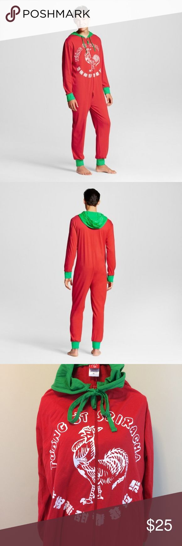 """SRIRACHA men's one-piece pajamas / costume — XL Color & pattern: red and green hot sauce bottle Style: one-piece union suit / costume with long-sleeves, hood with ties, long double-ended zipper in front Material & care: 60% cotton, 40% polyester; machine-wash, tumble-dry  Approximate measurements (laid flat) Length (shoulder to ankle): 64"""" Chest (underarm to underarm): 23"""" Sleeve: 27""""  Condition Gently pre-owned; 3"""" run on left thigh; no other known flaws. Shipped with care from a clean…"""