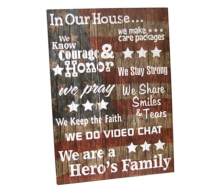 Our Military Wall Hanging with Family Messages makes for a great gift for the loved ones in your life who have served. #burtonandburton #patriotic