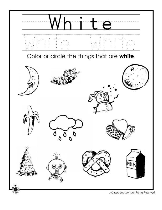 learning colors worksheets for preschoolers color white worksheet classroom jr - Color Activity For Kindergarten