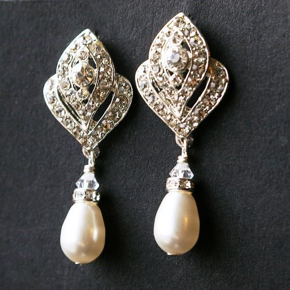 Pearl Bridal Wedding Earrings Vintage Style Silver Drop Art Deco Jewelry Ivana Vineyard