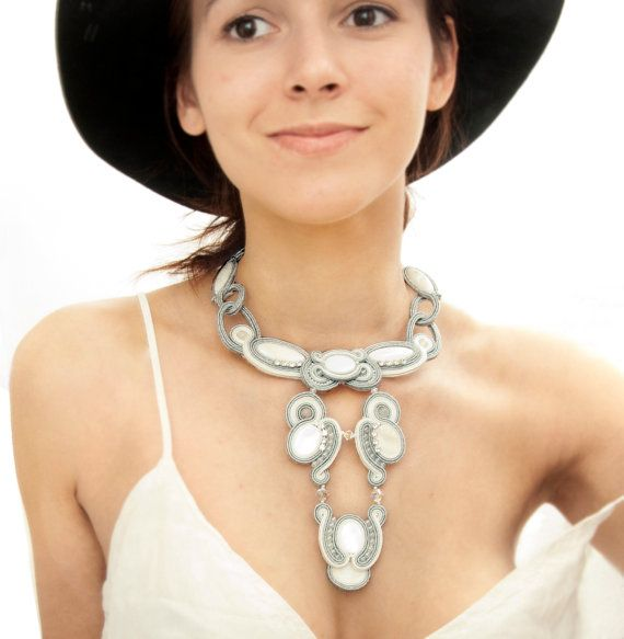 Statement bridal necklace white, silver soutache, zircons, mother of pearl. Wedding necklace long, large silver metallic, bohemian necklace.