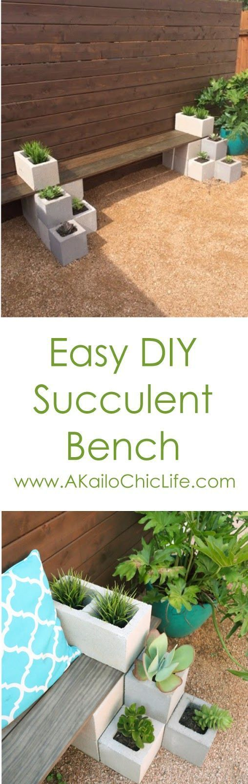 DIY It - Outdoor Succulent Bench - Easy DIY Succulent bench using cinder blocks and stained wood. Cheap and quick backyard garden project for beginners. Great spring garden project!