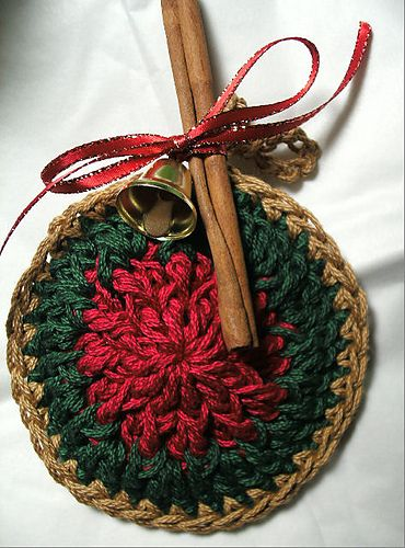 Crocheted Scented Christmas Ornaments My idea is to take a Mug with Co-Co in it and give this as the coaster for the mug.