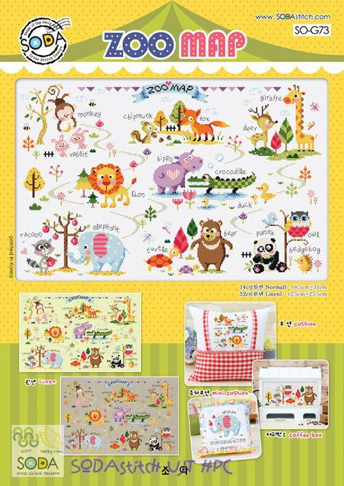 """Zoo Map"" Counted cross stitch pattern leaflet. SODA SO-G73 in Crafts, Needlecrafts & Yarn, Cross Stitch & Hardanger   eBay"