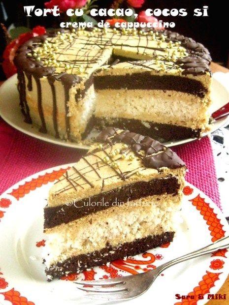 » Tort cu cacao, cocos si crema de cappuccinoCulorile din Farfurie