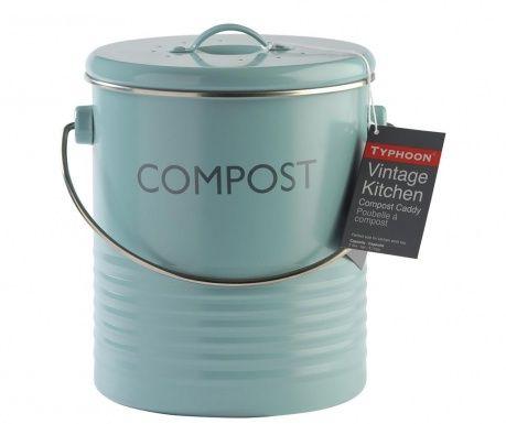 Recipient cu capac pentru compost Vintage Kitchen Blue 2.5 L