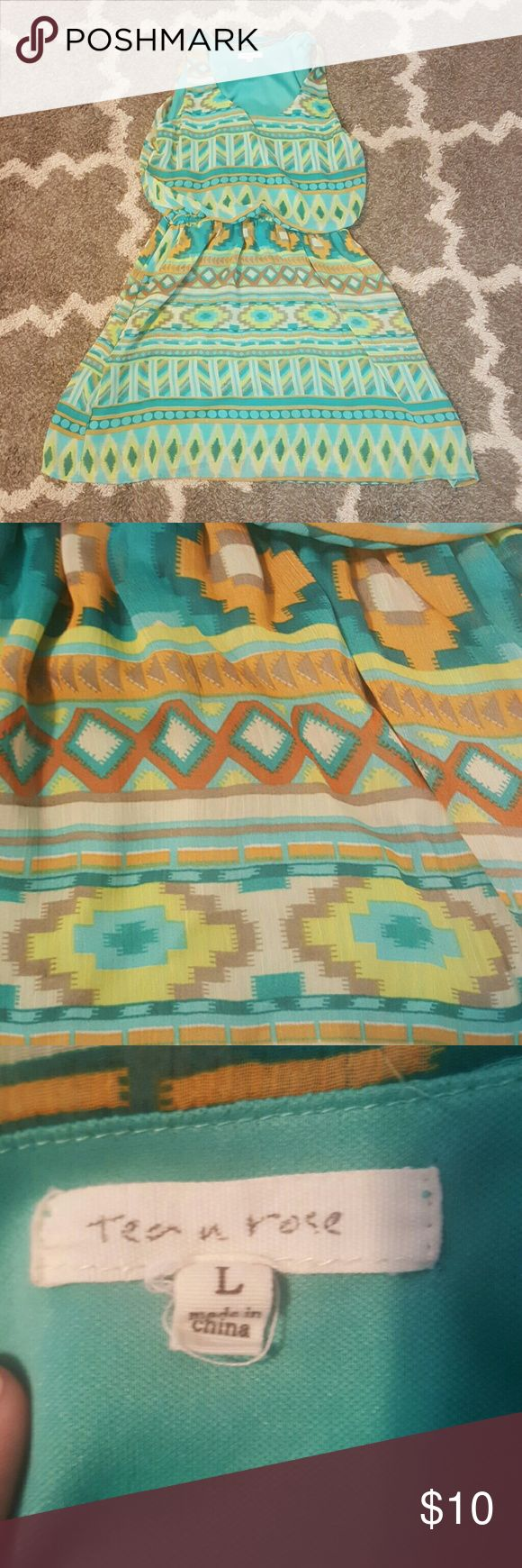 Aztec tea and rose dress Fits more like a Meduim or a smaller large... Used but still in great shape! tea n rose  Dresses Mini