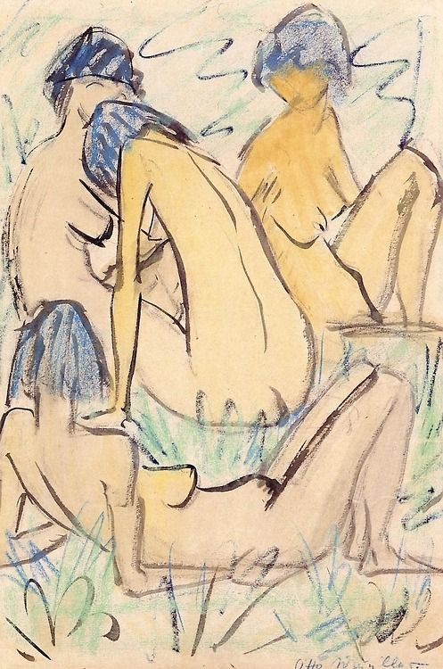 Otto Mueller (Germany 1874-1930) Girls Sitting and Lying in the Grass (c. 1925)