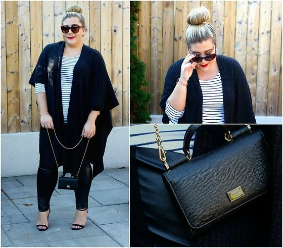 Get this look: http://lb.nu/look/7882248  More looks by Christina: http://lb.nu/bonafideblonde  Items in this look:  Céline Sunglasses, T. Babaton Knitted Cape Shawl, Addition Elle Faux Leather Leggings, Asos Strapped Heels, Dolce & Gabbana Chain Portfolio   #blogger #fashion #toronto #canada #plussize #style #fall #aritzia #loft